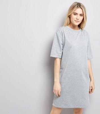 Grey Pearl Studded T-Shirt Dress New Look