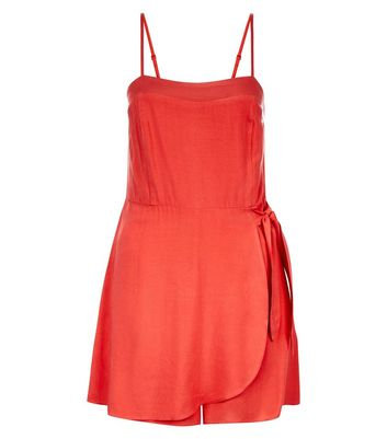 Red Wrap Front Skort Playsuit New Look
