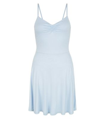 Pale Blue Jersey Skater Dress New Look