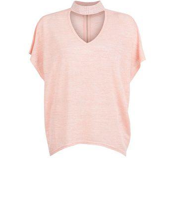 Blue Vanilla Coral Gem Studded Choker Neck T-Shirt New Look