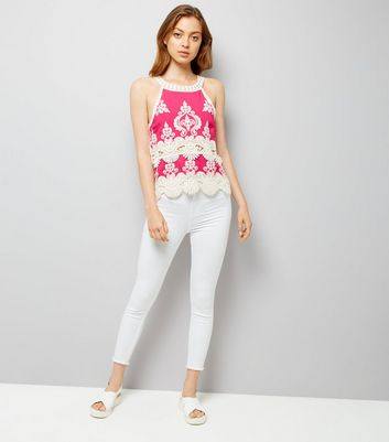 Pink Crochet Trim Top New Look