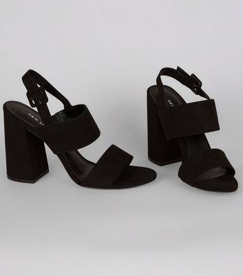 Black Suedette Open Toe Flared Block Heels New Look