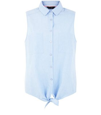 Blue Sleeveless Tie Front Shirt New Look