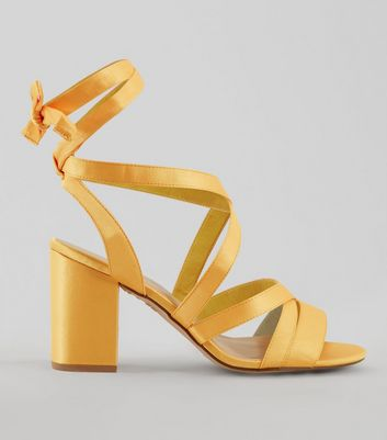 Wide Fit Yellow Satin Ankle Tie Heels New Look