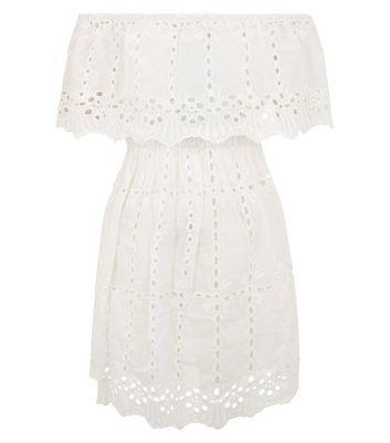 White Cut Out Detail Bardot Dress New Look