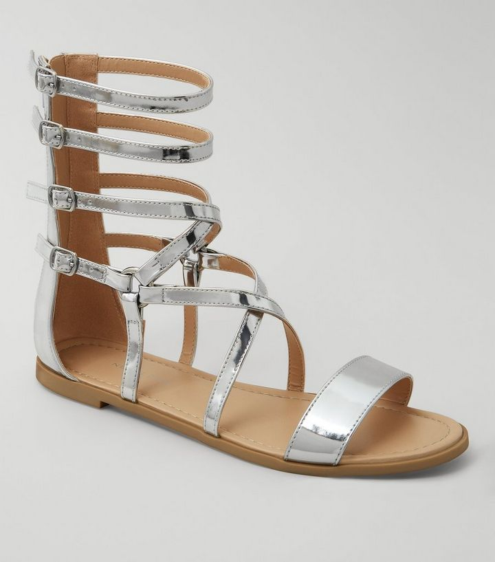 c4ccd689e1a Silver Metallic Gladiator Sandals