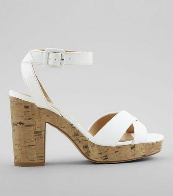 White Cross Strap Cork Block Heels by New Look