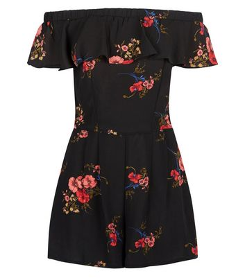 Cameo Rose Black Floral Print Bardot Neck Playsuit New Look