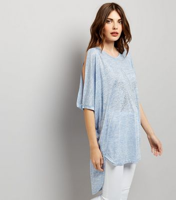 Blue Vanilla Blue Cold Shoulder Batwing Top New Look