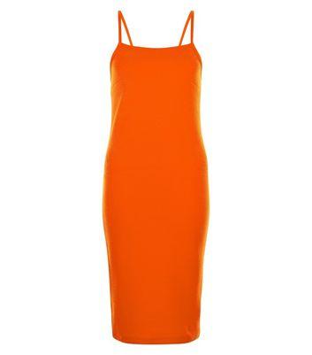 Bright Orange Ribbed Bodycon Midi Dress New Look