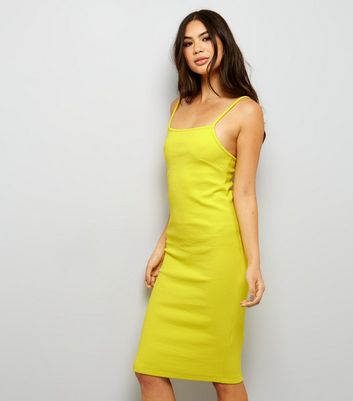 Yellow Ribbed Bodycon Midi Dress New Look