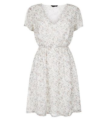 White Floral Print Summer Dress New Look