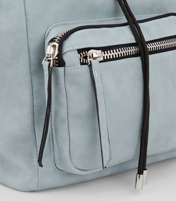 Pale Blue Chunky Zip Backpack New Look