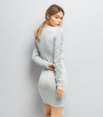 Pale Grey Ruched Sleeve Jersey Bodycon Dress New Look