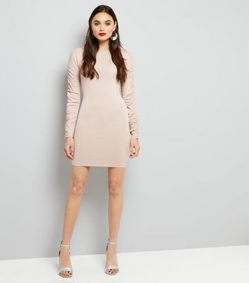 Mid Pink Ruched Sleeve Bodycon Dress New Look