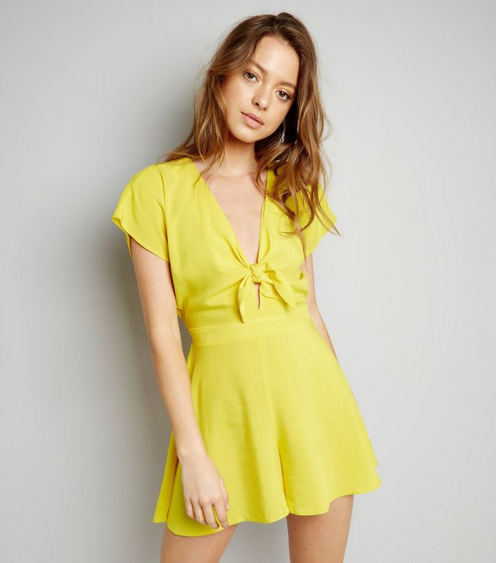 bf1c4e403f Yellow Tie Front Playsuit
