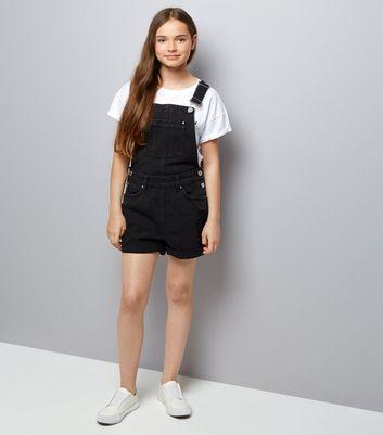 Teens Black Short Dungarees New Look
