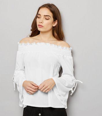 Innocence White Shirred Bardot Neck Tie Sleeve Top New Look
