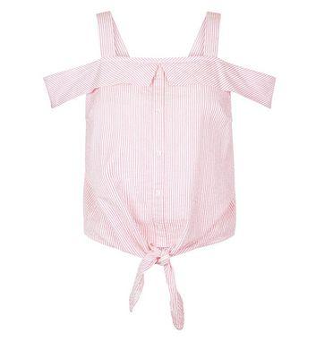 Pink Stripe Seersucker Cold Shoulder Top New Look