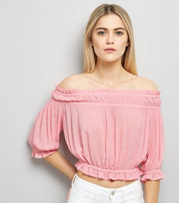 Bright Pink Bardot Neck Top New Look