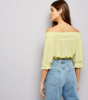 Yellow Shirred Bardot Neck Top New Look