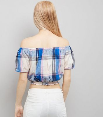 White Check Bardot Neck Top New Look