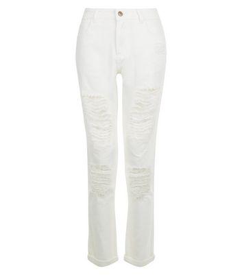Urban Bliss White Ripped Boyfriend Jeans New Look