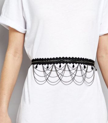 Black Lace and Chain Drop Waist Belt New Look