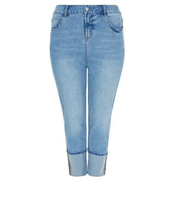 Curves Blue Turn Up Hem Boyfriend Jeans New Look