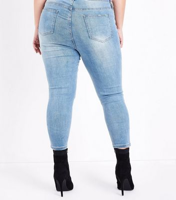 Curves Blue Ripped Embellished Skinny Jeans New Look