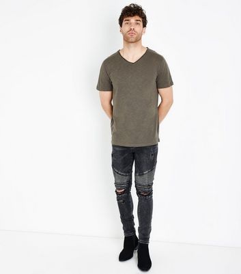 Khaki Raw Edge V Neck T-Shirt New Look