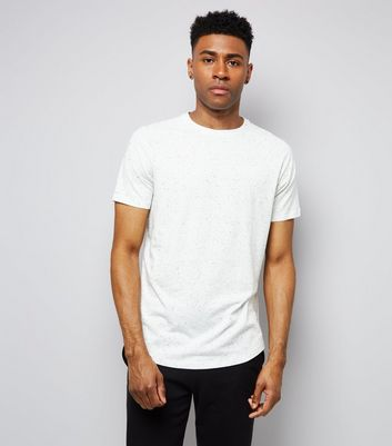 White Marl Short Raglan Sleeve T-Shirt New Look