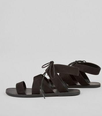 Black Suedette Lace Up Sandals New Look
