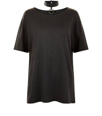 Dark Grey Ring Trim Choker Neck T-Shirt New Look
