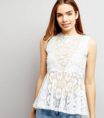Blue Vanilla White Daisy Lace Top New Look