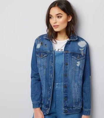 New Bleue Jean Broche Look Cristal En Veste À qFxYY8