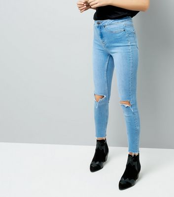 Blue Ripped Knee Skinny Hallie Jeans New Look