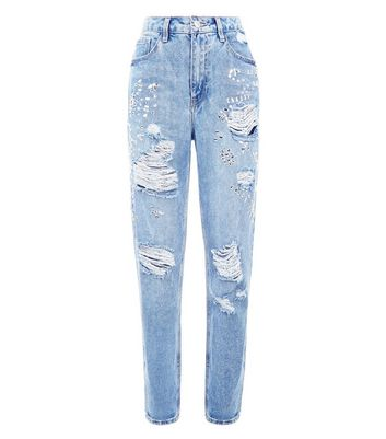 Tall Blue Gem Embellished Distressed Mom Jeans New Look