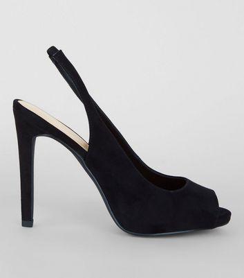 Black Patent Slingback Peep Toe Heels