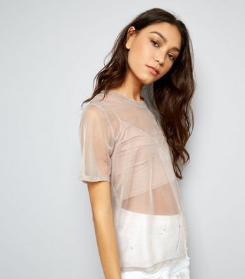 Tall Mid Pink Metallic Mesh T-Shirt New Look