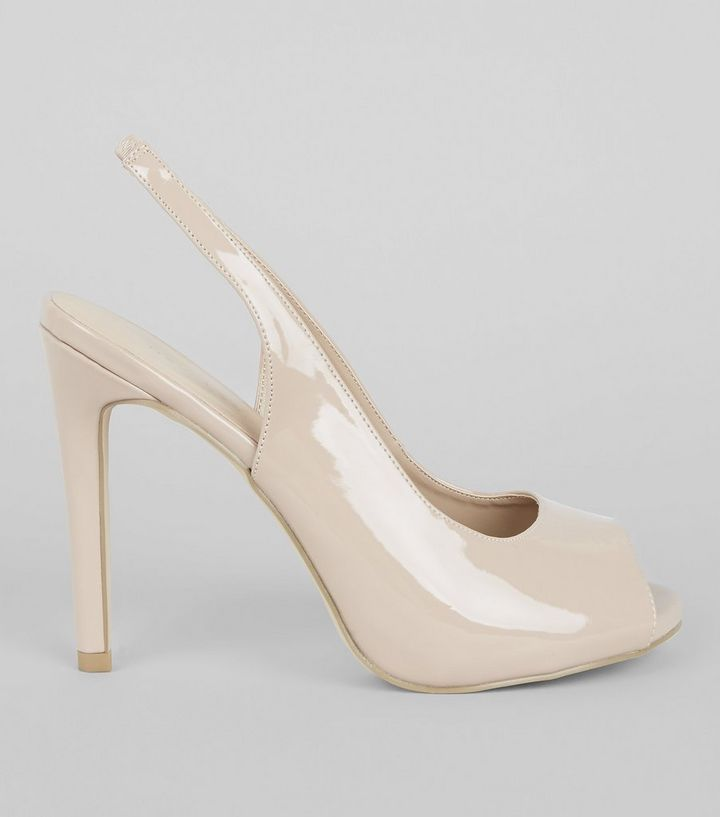 Nude Pink Patent Slingback Peep Toe Heels  0f7a566dd56a