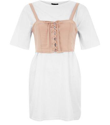 Light Brown 2 in 1 Corset T-Shirt Dress New Look