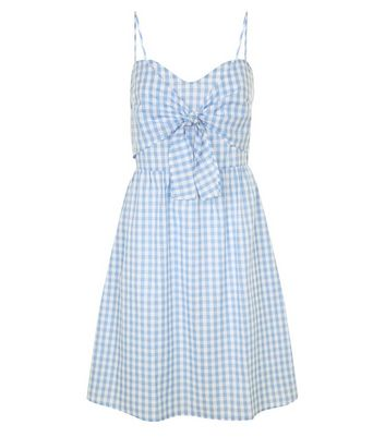 Tall Blue Gingham Tie Front Dress New Look