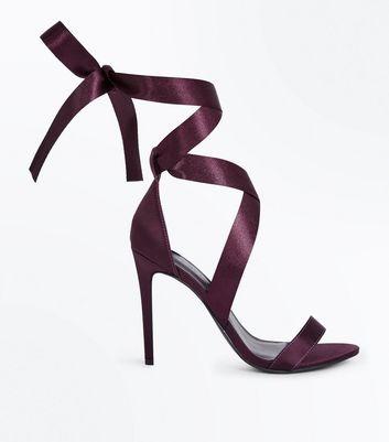 Dark Purple Satin Ribbon Tie Heels New Look
