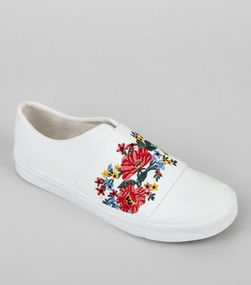 White Floral Embroidered Plimsolls