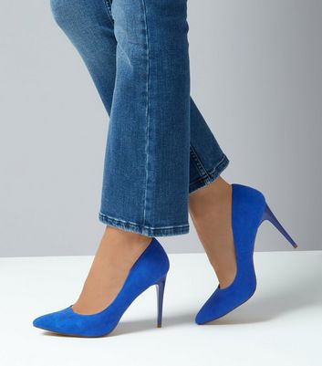 Blue Suedette Pointed Court Shoes New Look