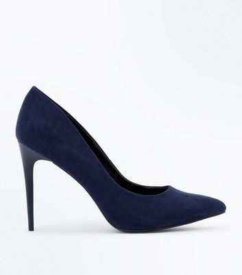 Navy Blue Suedette Pointed Court Shoes New Look