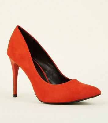 Orange Suedette Pointed Court Shoes