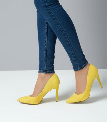 Yellow Suedette Pointed Court Shoes New Look