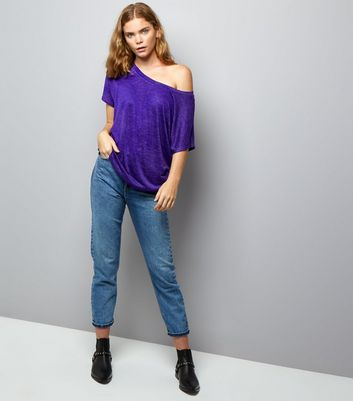 Purple Off the Shoulder T-Shirt New Look
